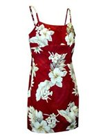 Pacific Legend Hibiscus Red Cotton Hawaiian Spaghetti Short Dress
