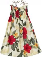 Two Palms Leilani Cream Rayon Girls Hawaiian Summer Dress