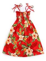 Two Palms Leilani Red Rayon Girls Hawaiian Summer Dress
