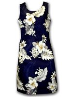 Pacific Legend Hibiscus Navy Cotton Hawaiian Tank Short Dress