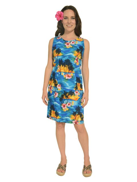 Sunset Blue Cotton Hawaiian Tank Short Dress
