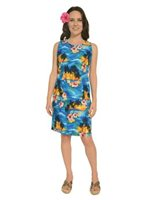 Pacific Legend Sunset Blue Cotton Hawaiian Tank Short Dress