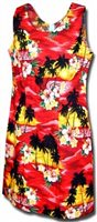 Pacific Legend Sunset Red Cotton Hawaiian Tank Short Dress