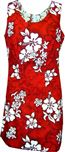 Pacific Legend White Hibiscus Red Cotton Hawaiian Tank Short Dress
