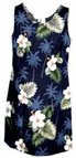 Pacific Legend Hibiscus Monstera Navy Cotton Hawaiian Tank Short Dress