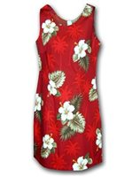 Pacific Legend Hibiscus Monstera Red Cotton Hawaiian Tank Short Dress