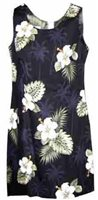 Pacific Legend Hibiscus Monstera Black Cotton Hawaiian Tank Short Dress