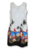 Pacific Legend Parrot White Cotton Hawaiian Tank Short Dress