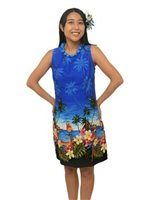 Pacific Legend Parrot Blue Cotton Hawaiian Tank Short Dress