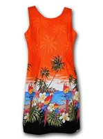 Pacific Legend Parrot Orange Cotton Hawaiian Tank Short Dress