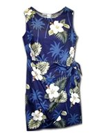 Pacific Legend Hibiscus Monstera Navy Cotton Hawaiian Sarong Short Dress