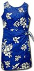 Pacific Legend White Hibiscus Blue Cotton Hawaiian Sarong Short Dress