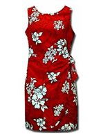 Pacific Legend White Hibiscus Red Cotton Hawaiian Sarong Short Dress