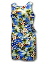 Pacific Legend Diamond Head Blue Cotton Hawaiian Sarong Short Dress