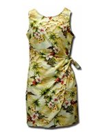 Pacific Legend Diamond Head Maize Cotton Hawaiian Sarong Short Dress