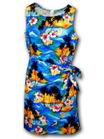 Pacific Legend Sunset Blue Cotton Hawaiian Sarong Short Dress