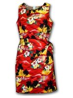 Pacific Legend Sunset Red Cotton Hawaiian Sarong Short Dress