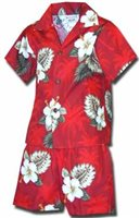Pacific Legend Hibiscus Monstera Red Cotton Boys Hawaiian Cabana Set