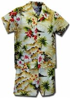 Pacific Legend Diamond Head Maize Cotton Boys Hawaiian Cabana Set