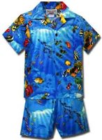 Pacific Legend Tropical Fish Blue Cotton Boys Hawaiian Cabana Set