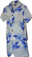 Pacific Legend Plumeria Blue Cotton Boys Hawaiian Cabana Set