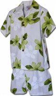 Pacific Legend Plumeria Lime Cotton Boys Hawaiian Cabana Set