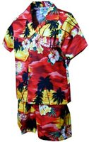 Pacific Legend Sunset Red Cotton Boys Hawaiian Cabana Set