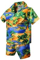 Pacific Legend Crocodile Blue Cotton Boys Hawaiian Cabana Set