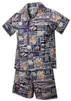 Pacific Legend Tapa Navy Cotton Boys Hawaiian Cabana Set