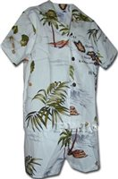 Pacific Legend Island Chain White Cotton Boys Hawaiian Cabana Set