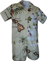 Pacific Legend Island Chain Khaki Cotton Boys Hawaiian Cabana Set