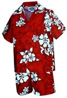 Pacific Legend White Hibiscus Red Cotton Boys Hawaiian Cabana Set