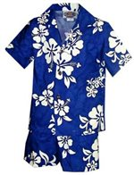 Pacific Legend White Hibiscus Blue Cotton Boys Hawaiian Cabana Set