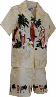 Shirt and Pants Boy/'s Hawaiian Flowers Cabana Set