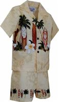 Pacific Legend Surfboard Beige Cotton Boys Hawaiian Cabana Set