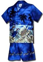 Pacific Legend Motorcycle Navy Cotton Boys Hawaiian Cabana Set