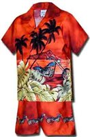 Pacific Legend Motorcycle Rust Cotton Boys Hawaiian Cabana Set