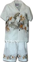 Pacific Legend Hibiscus White Cotton Boys Hawaiian Cabana Set
