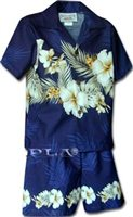 Pacific Legend Hibiscus Navy Cotton Boys Hawaiian Cabana Set