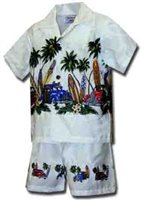 Pacific Legend Surfboard White Cotton Boys Hawaiian Cabana Set