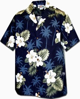 Hibiscus Monstera Navy Cotton Boys Junior Hawaiian Shirt