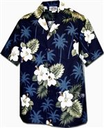 Pacific Legend Hibiscus Monstera Navy Cotton Boys Junior Hawaiian Shirt