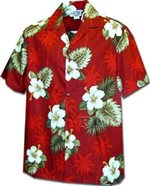 Pacific Legend Hibiscus Monstera Red Cotton Boys Junior Hawaiian Shirt