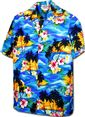 Pacific Legend Sunset Blue Cotton Boys Junior Hawaiian Shirt