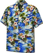 Pacific Legend Diamond Head Blue Cotton Boys Junior Hawaiian Shirt