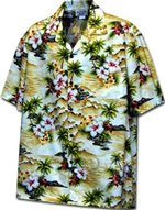 Pacific Legend Diamond Head Maize Cotton Boys Junior Hawaiian Shirt