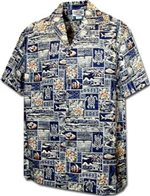 Pacific Legend Tapa Navy Cotton Boys Junior Hawaiian Shirt