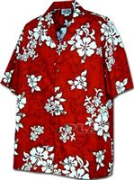 Pacific Legend White Hibiscus Red Cotton Boys Junior Hawaiian Shirt
