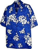 Pacific Legend White Hibiscus Blue Cotton Boys Junior Hawaiian Shirt