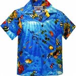Pacific Legend Tropical Fish Blue Cotton Boys Junior Hawaiian Shirt